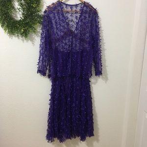 Purple Tulle Skirt/Sheer Tulle Cardigan Style Top